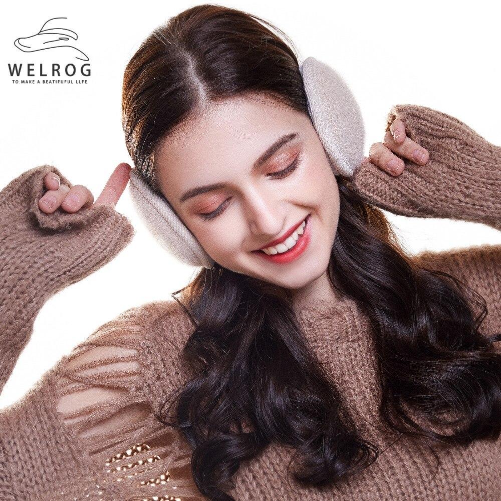 WELROG  Men Faux Rabbit Fur Earmuff Winter Knitted Foldable Ear Warmers Adjustable Ear Bag Women Back Wear Ear Muffs Earflap