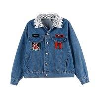 Melinda Style 2017 New Women Fashion Denim Jacket Lace Collar Jean Coat Outwear Free Shipping