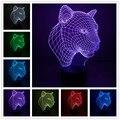 3d Conduziu A Lâmpada Leopardo 3d Controle de Toque Noite 7 cores Mudar Led Desk Mesa de Luz Banco de Potência Da Lâmpada Led Night luz