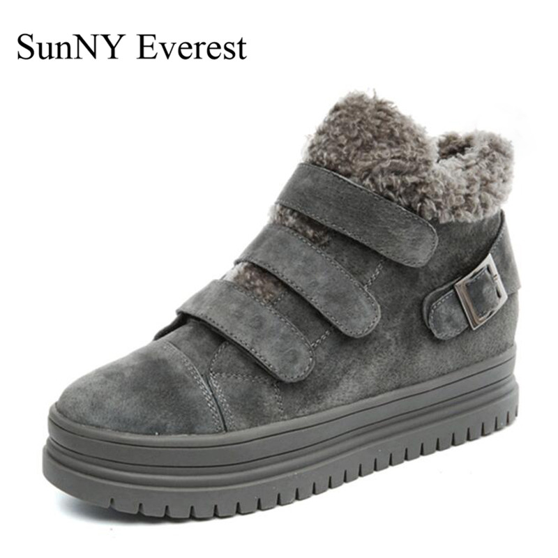 SunNY Everest woman boots winter cow leather ankle boots round toe women boats black grey warm rubber bottom size35-40 us9 фонарик everest et3 004 led