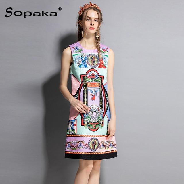 2018 Summer Dress Sleeveless Straight Tank Colorful Floral Geometric Print  Diamonds Vintage Runway Design Midi Women Dresses 2767ee014b5d