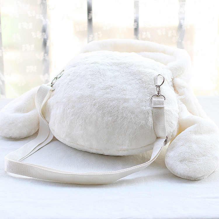 Nouveau mignon dessin animé lapin tête douce en peluche sac à dos sac à bandoulière sac à bandoulière Furry sac polyvalent sac Adorable poupée fille cadeau