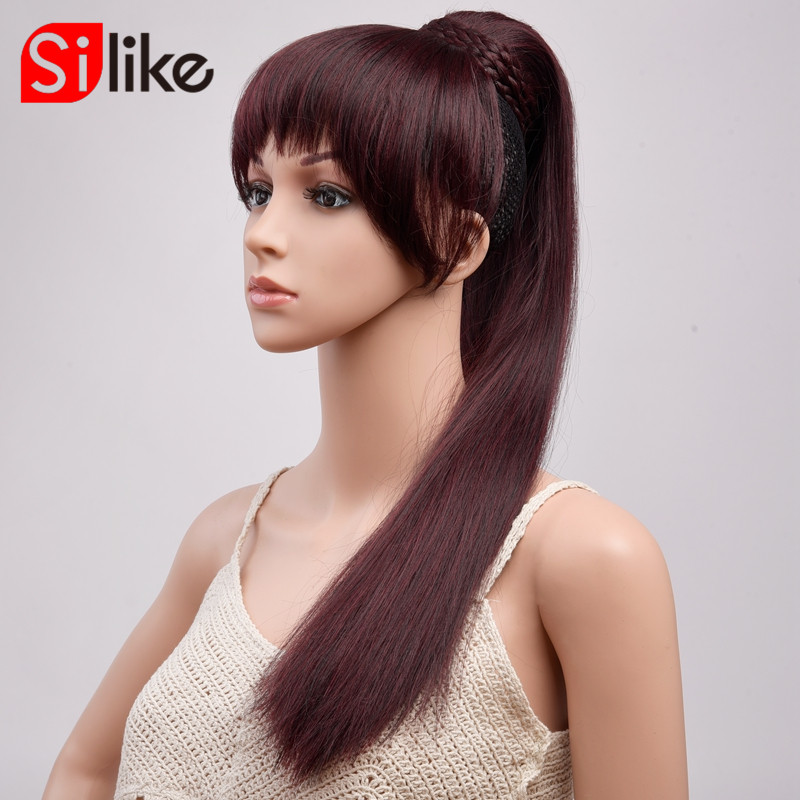 Straight Pony Tail With Bangs 22 Inch 150g Ponytail Hairpiece With Hairpins Synthetic Hair Pony Tail Clip In Hair Extension(China)