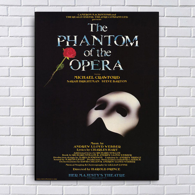 The Phantom Of Opera Poster Theater Play Wall Art Silk Or Canvas Painting Home Bedroom
