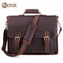 JOYIR Crazy Horse Leather Men's Briefcase Laptop Bag Business Bag Genuine Leather Shoulder Messenger Bag Office Bags For Men New цена в Москве и Питере