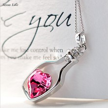 1PC 3CM*1.5CM New Women Ladies Fashion Popular Crystal Necklace Love Drift Bottles Necklack(China)