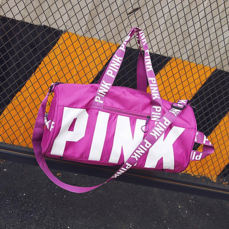 2018 Women Travel Duffle Fashion Pink Letter Handbags Large Capacity Travel Totes Waterproof Beach Bag Shoulder Bag