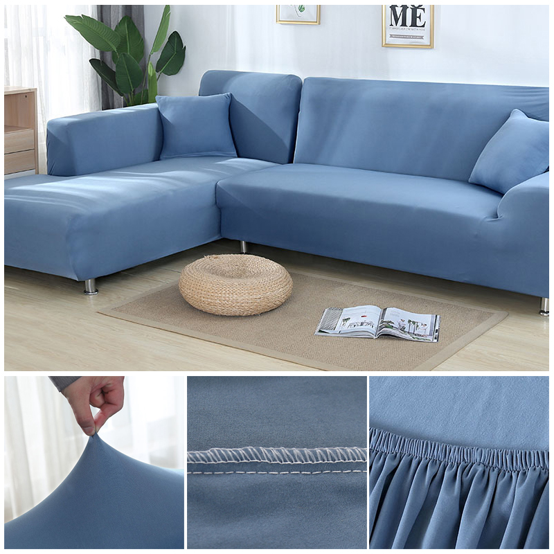 L shaped Solid Sofa Cover with Elastic for Sectional and Corner Sofa with Deep Gap Suitable in Living Room and Office 15