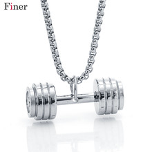 Hip Hop Stainless Steel Silver Barbell Dumbbell Pendant  Fashion Weightlifting Sports Fitness Jewelry Necklace Cuban Chain stainless steel barbell pendant necklace for men