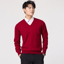 Man Pullovers Winter New Fashion Vneck Sweater Cashmere and Wool Knitted Jumpers Men Woolen Clothes Hot Sale Standard Male Tops(China)