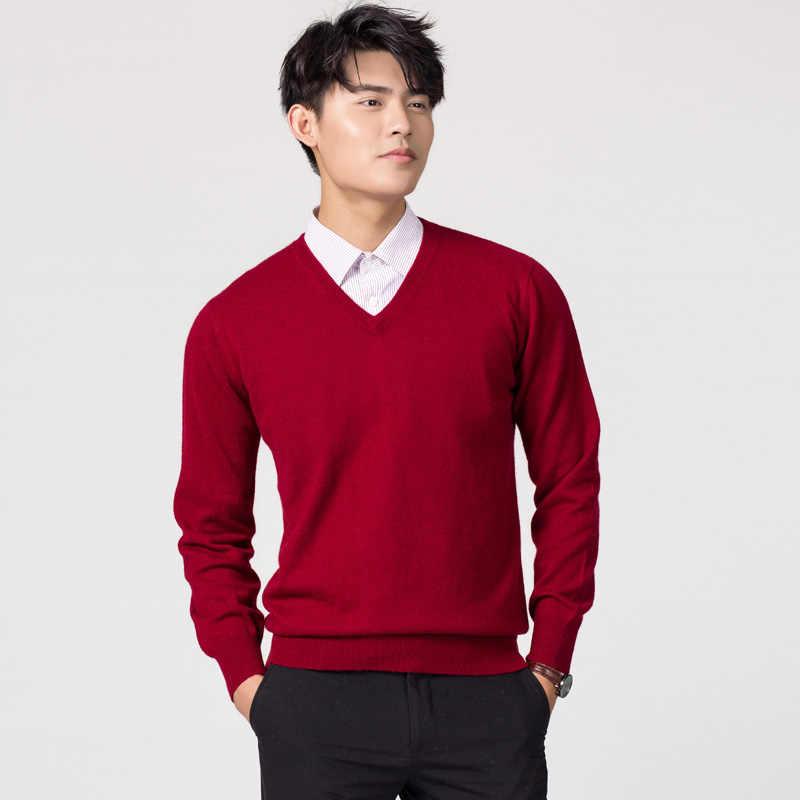남자 풀오버 겨울 새로운 패션 v 넥 스웨터 캐시미어와 양모 니트 점퍼 남자 모직 의류 핫 세일 표준 남성 탑스