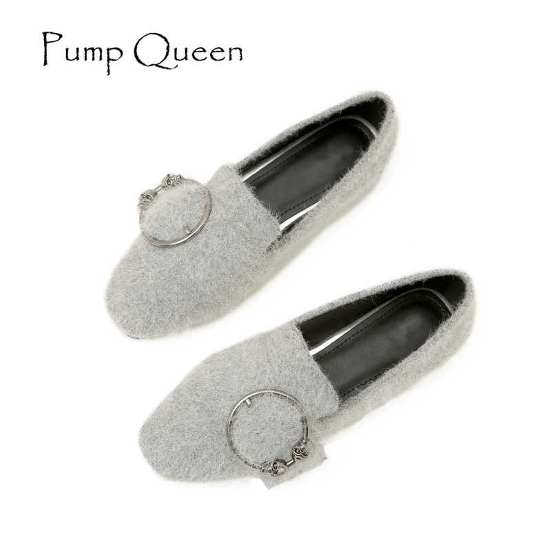 Woman Shoes 2017 Flock Autumn Loafers Casual Solid Square Toe Flats Comfortable All-purpose Style Metal Decoration Large size 43 spring autumn solid metal decoration flats shoes fashion women flock pointed toe buckle strap ballet flats size 35 40 k257