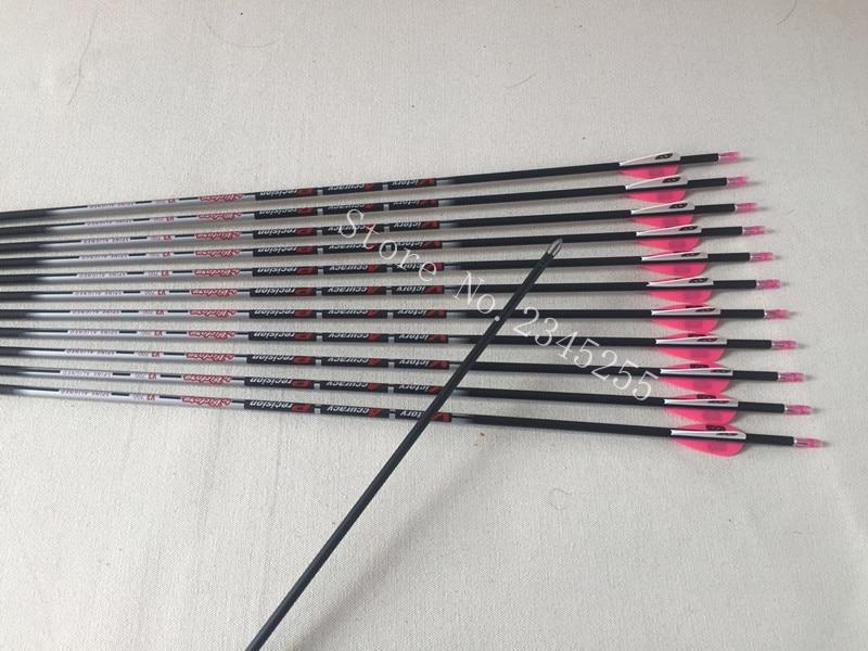 12pcs 100 pure carbon arrow sp400 600 700 800 900 ID4 2mm 1 75 plastic vane