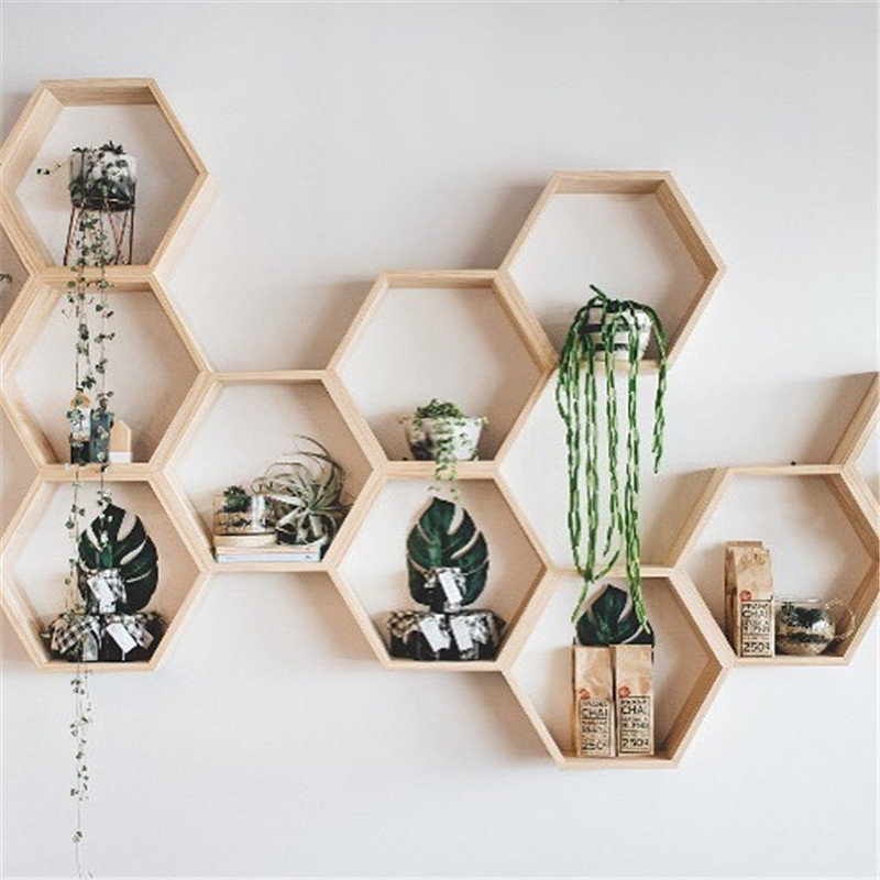 INS New Kids Baby Nordic Style Wooden Hexagon Storage Shelf Decorative For Kids Room Chamber Shelf Bookshelf Design