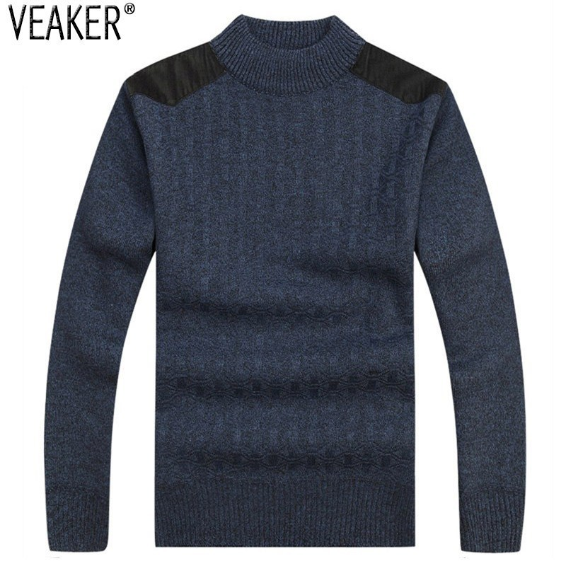 Pullovers Sweater Slim-Fit Warm Fleece Male Autumn Men's Winter New Patchwork Tops Thick