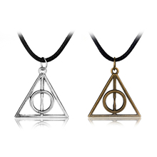 Popular Movie HP Deathly Hallows Pendant Necklace 2 Colors Alloy Trendy Jewelry Long Chain Triangle Collar Drop Shipping elegant triangle alloy shirt collar tips necklace silver
