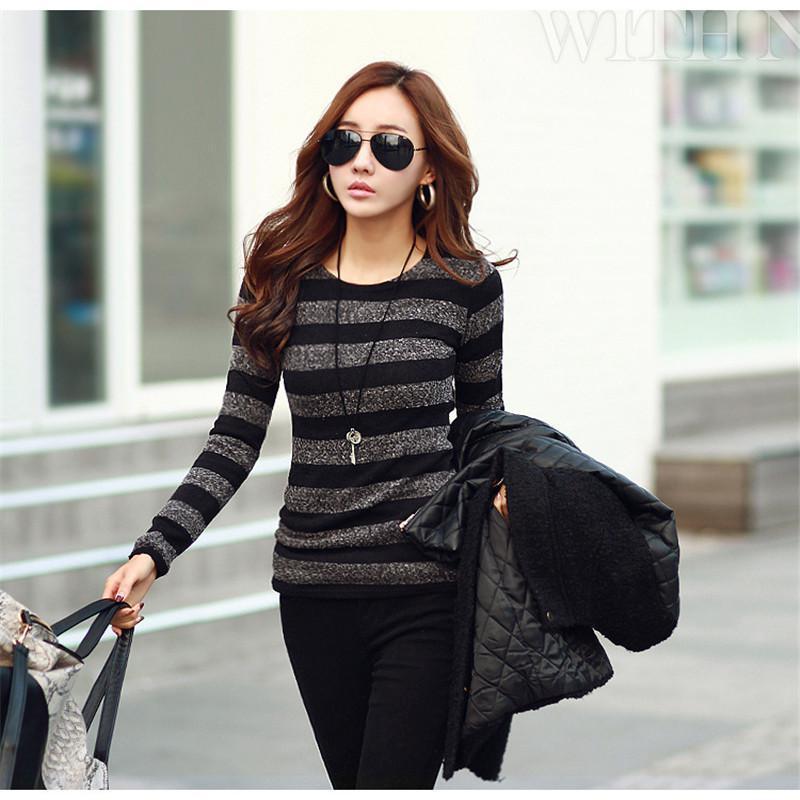 2017 Winter Women Sweater Fashion Stripe Black White Print O-neck Knitted Pullover Female Clothes S-xxl