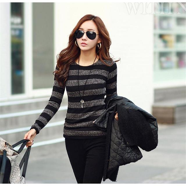 2017 Winter Women Sweater Fashion Stripe Black White Print O-neck Knitted Pullover Female Clothes S-xxl