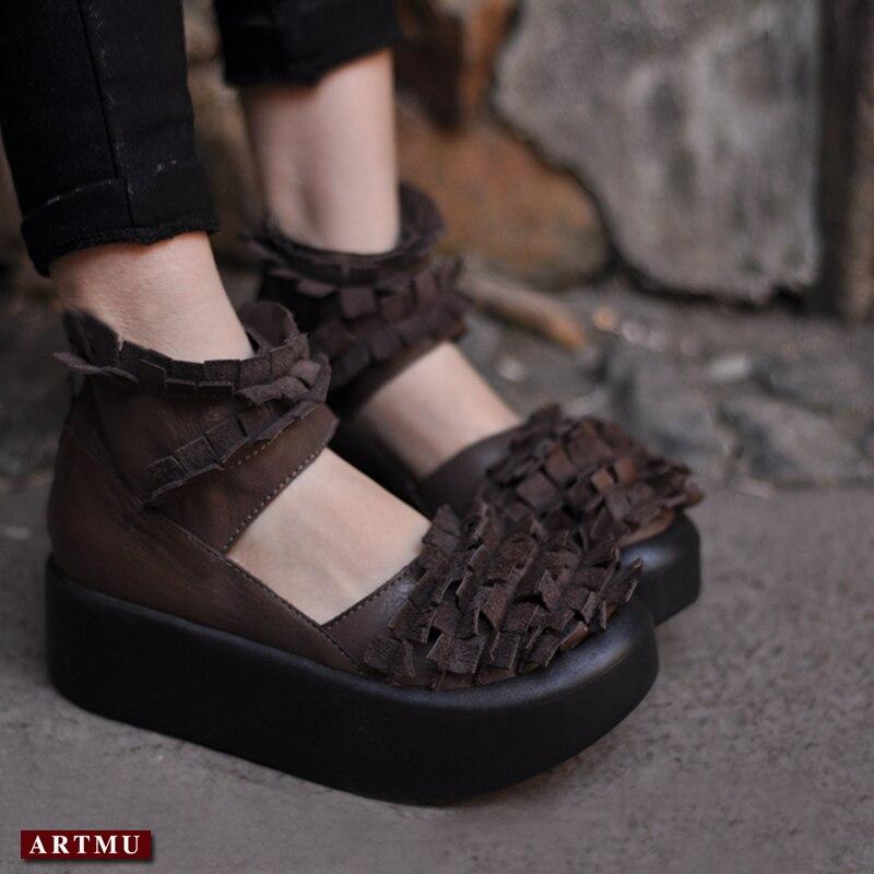 Artmu Fashion Flat Platform Women Shoes Vintage Fringe Genuine Leather 5 cm Heel Height Handmade Zip Flat Soft Women Shoes imc vintage women flat shoes white us4 eur35 length 22 5cm