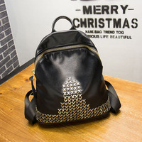 Women's Premium Oxford Headwear Cowhide Leisure Rivet Backpack Korea Trending Women Fashion Bulk Backpack