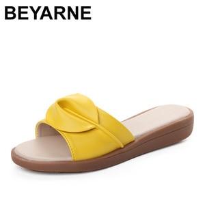 Image 1 - BEYARNE נשים סנדלי כפכפים כפכפים אופנה פלטפורמת סנדלי עור Wedeges נעלי עקבים חוף שקופיות נעלי נעליים