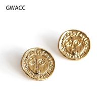 GWACC Vintage Disco Coin Minimalist Stud Earrings Round Metal Copper Alloy Geometric Circle Retro Engraved Jewelry Wholesale