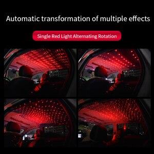 Image 5 - חדש רכב סטיילינג USB פנים קישוט אור שלט רחוק לסובב כוכב שמיים לייזר מנורה אוטומטי הקרנת מוסיקה אווירה אור