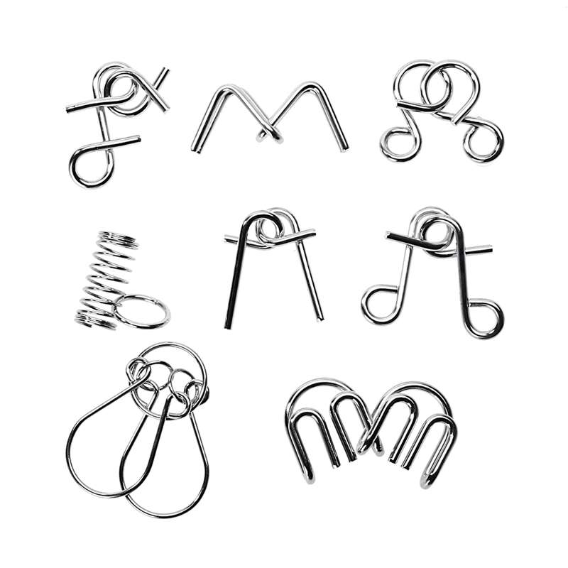 8pcs/lot Montessori Materials Metal Wire Puzzle IQ Mind Brain Teaser Puzzles Game For Adults And Kids Eeducational Toy metal puzzle iq mind brain game teaser square educational toy gift for children adult kid game toy