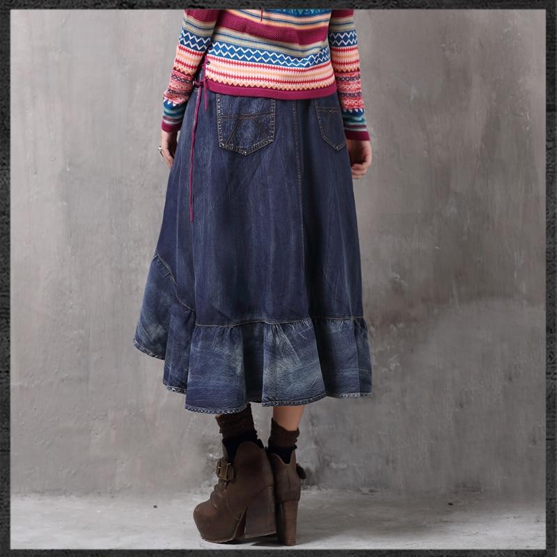 Traslado Azul Largo Dobladillo invierno Irregular Denim Con De Nuevas Jeans Mujeres Falda Otoño Vintage Elegante Moda xRZ8w6q