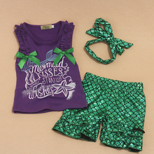 hot deal buy lpzihjy girls set print mermaid outfits for kids sleeveless toddler girl clothing summer baby girl clothing sets