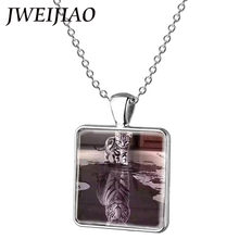 JWEIJIAO Charms Lions, wolf,tigers,leopard Necklace Little Cat imagine Becoming A tiger Art Picture Square Pendant E081(China)