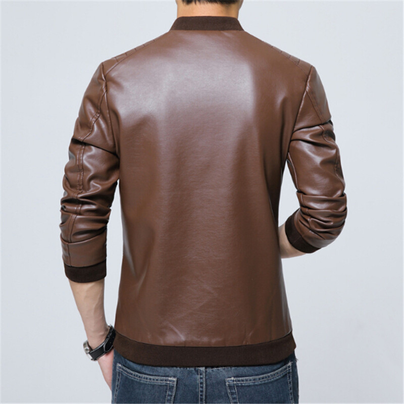 2017 Motorcycle Leather Jacket Men Solid Slim Fit Mens Leather Jackets and Coats Luxury Brand
