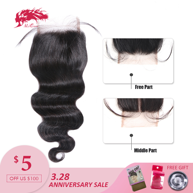 Ali Queen Hair brasilianske Body Wave Lace Closure Remy Hair Bundles 4 * 4 Swiss Blonde med Baby Hair 130% Tæthed Gratis Levering