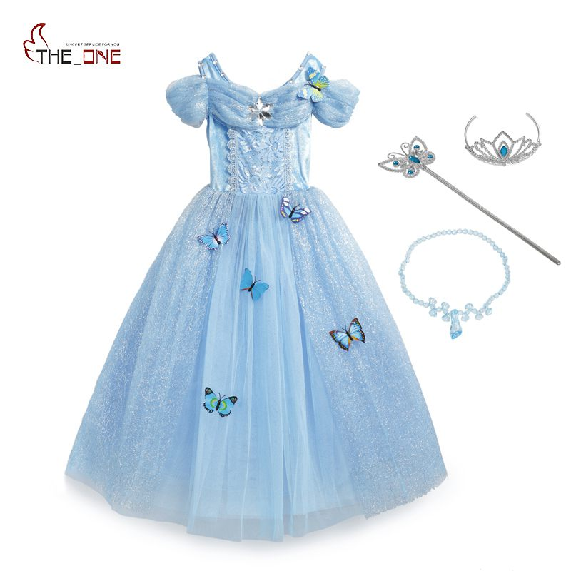 MUABABY Girls Cinderella Dress up Costume 10 Butterflies Kids Sleeveless Princess Party Dresses for Halloween Birthday Pageant new cinderella princess girl dress kids christmas dresses costume for girls party crown necklace fantasia dress kids clothes