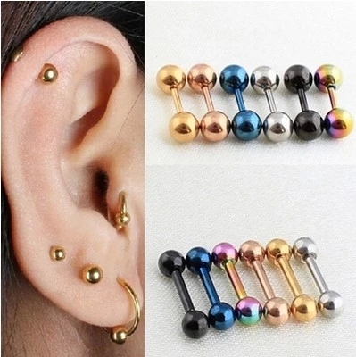New Punk Barbell Earrings Silver Gold Black Stainless Steel Round Studs Ear Piercing Jewelry For Men Women In Stud From