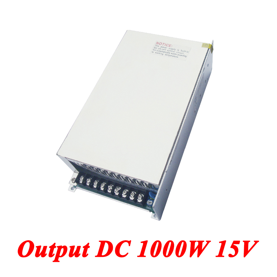 S-1000-15 Switching Power Supply,1000W 15v 66A Single Output Ac Dc Converter For Led Strip,AC110V/220V Transformer To DC 15 V single output dc24v 40a 1000w switching power supply ac dc 24v converter voltage transformer smps for led strip light s 1000 24