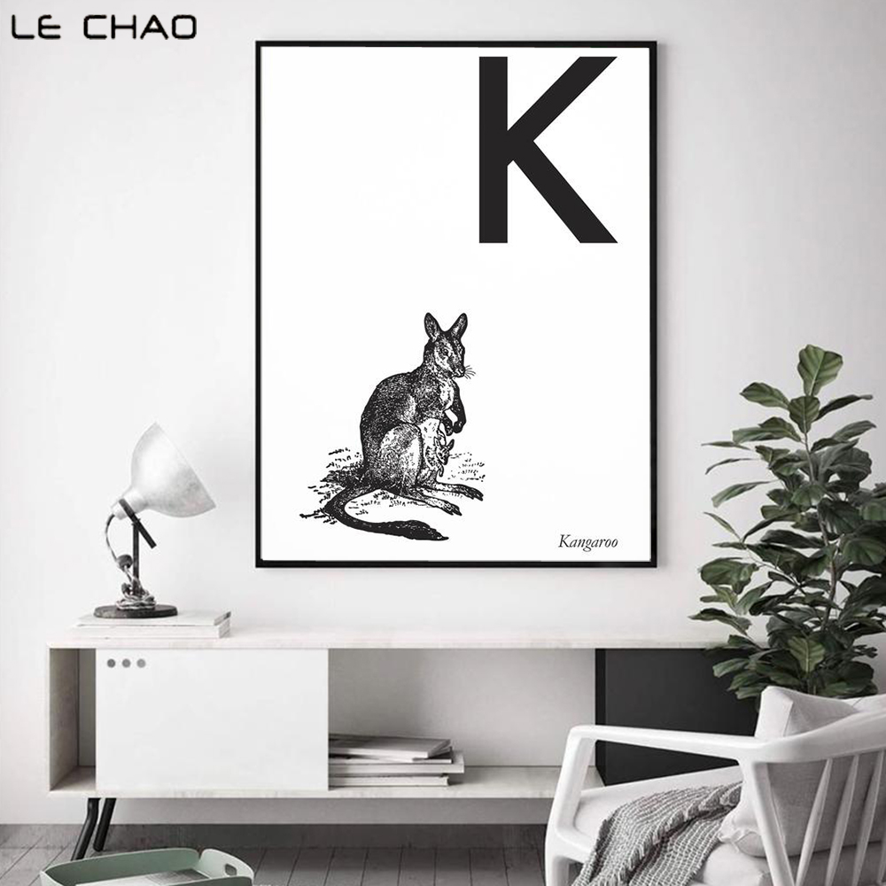 Lechao Kangaroo Free Combination Printings And Prints Animal Print Letters K Canvas Painting Wall Decor For Home Unframed Painting Calligraphy Aliexpress