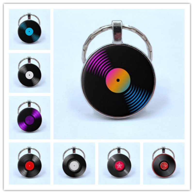 Simple Classic Style Vinyl Record Retro Gramophone Record Dome Glass Keychain Music Lovers Gift Wholesale And Retail