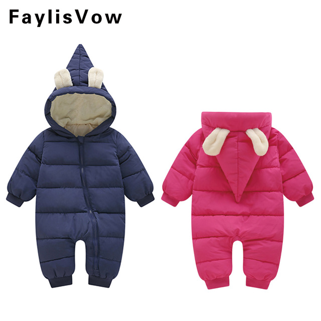37af90ff841 Newborn Baby Bunny Ear Romper Infant Winter Hooded Jumpsuits Thicken Cotton  Outfit Boy Girl Clothes Pajama