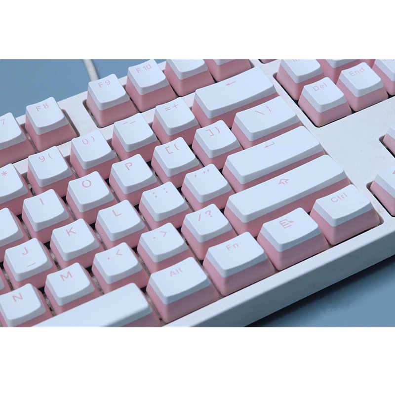 Pudding pbt podwójne klawisze profil oem podświetlenie klawiszy kolor biały mleczny różowy czarny gh60 poker 87 tkl 104 108 ansi iso Keys