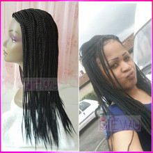 Hot !!! 24″ Black Hair Braiding Wig Short Micro Box Braided Wigs Full Hand Synthetic Braiding Wigs For African Americans