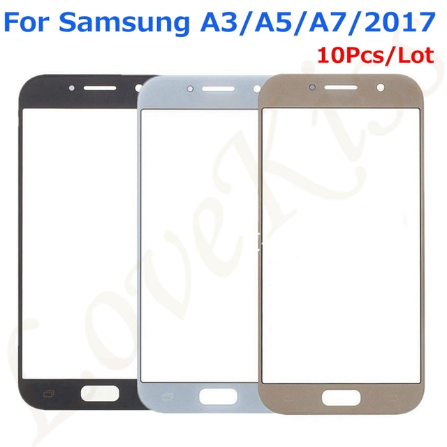 10Pcs/Lot Front Outer Glass Touch Panel For Samsung Galaxy A3 A5 A7 2017 Duos A320F A520F A720F Touch Screen Digitizer Cover
