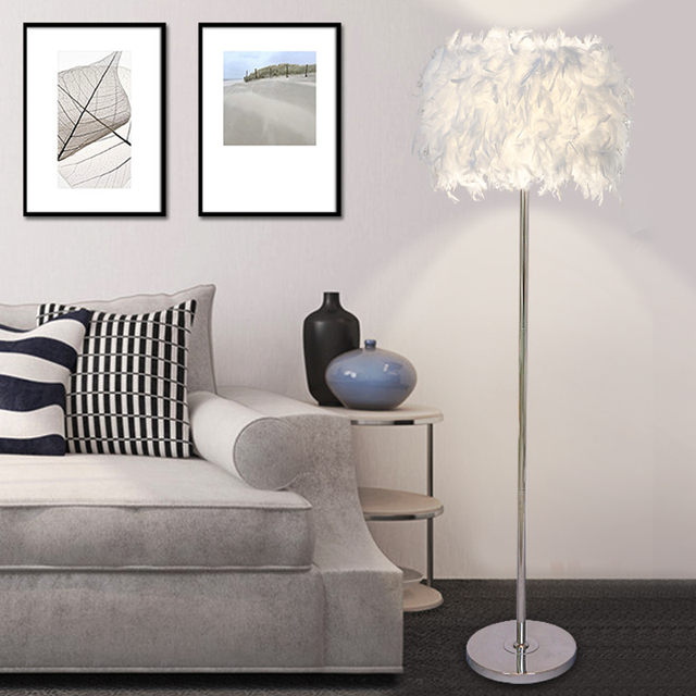 Feather floor lamps coffee shop bedroom living room modern multi color beautiful fashion feather shade