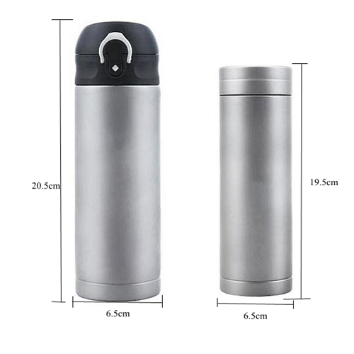 Pure Titanium 400ml Double Wall Vacuume Insulated Flask Water Bolttle 259g with Press botton Lid Anti fingerprint Surface