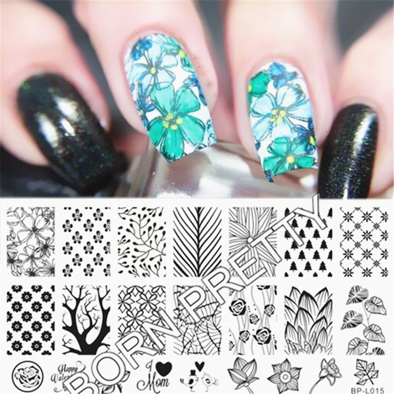 ✅BORN PRETTY Nail Stamping Plates Forest Pattern Trees Nail Art ...