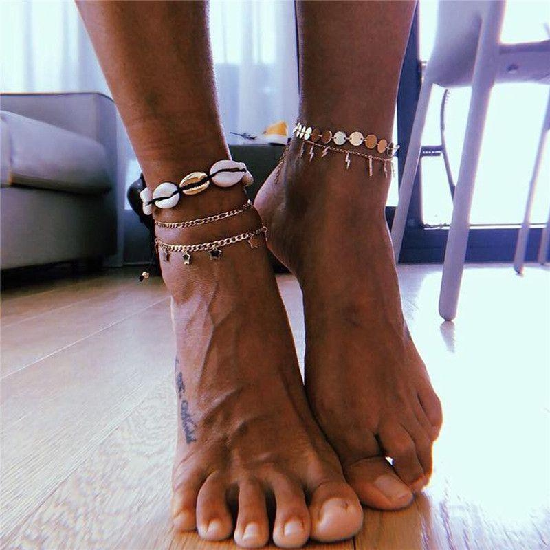 4 Pcs/Set Bohemian Shell Anklet Set For Women Multi Layers Star Pendant Sequin Foot Chains Anklet Bracelet Beach Jewelry
