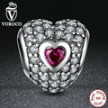 Authentic 925 Sterling Silver Dazzling Heart-Shaped Charm Fit Pandora Bracelet with Purple Cubic Zirconia Jewelry Making S006