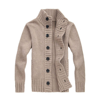 Men's Wool Sweater Thick Knit Cardigan Button Front Turtle Neck Men's Outerwear