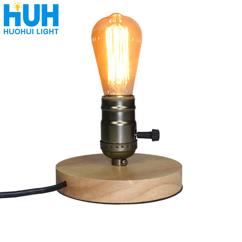 Holz Aluminium Tisch Lampe Retro Loft Schreibtisch Edison Birne 110