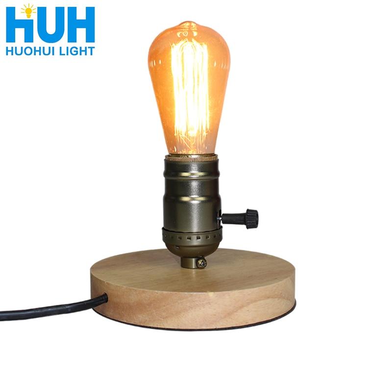 Wooden Aluminum Table Lamp  Retro Loft Desk Edison Bulb 110V/220V  Night Light Office Lamp Bedroom/Living Room/Cafe Lam